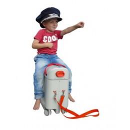 "4 weken BedBox® : ""ride on"" kinderkoffer + vliegtuigbedje in 1"